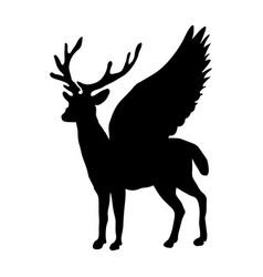 deer peryton silhouette ancient mythology fantasy vector image