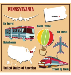 Flat map of Pennsylvania vector image vector image
