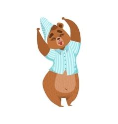 Girly cartoon brown bear character in pyjamas vector