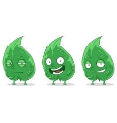 Green cartoon leaf set vector image