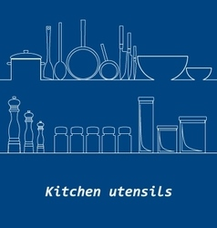 Kitchen mono line kitchen tools silhouette vector image