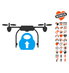 load cargo drone icon with love bonus vector image vector image