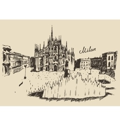 Milan cathedral duomo di milano italy hand drawn vector