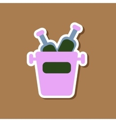 paper sticker on stylish background bottle bucket vector image