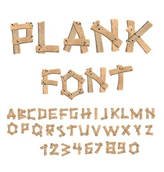 Plank font Wooden table alphabet Old boards with vector image vector image