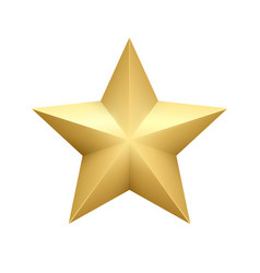 realistic metallic golden star isolated on white vector image