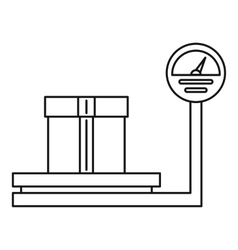 Scales for weighing with box icon outline style vector