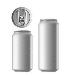 set of metal aluminum cans 330 and 500 ml metal vector image