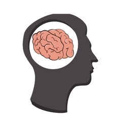 silhouette human brain thinking idea isolated vector image vector image