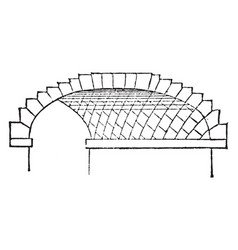 Skew arch rectangle regular vintage engraving vector