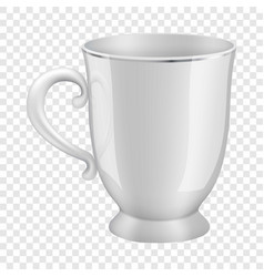 White tea cup mockup realistic style vector
