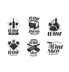 wine logo or label winery drink symbol vector image