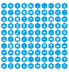 100 strategy icons set blue vector