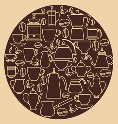 Coffee silhouette pots with cups vector