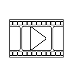 Silhouette filmstrip with play buttom vector