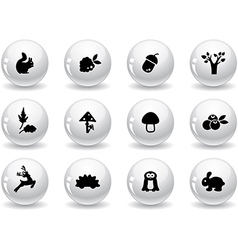 Web buttons woodland icons vector