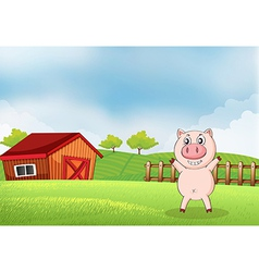 A pig in the farm with a barn vector