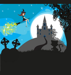 Witch flying on a broom in moonlight vector