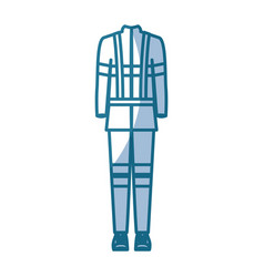 Blue silhouette shading of back view fireman vector