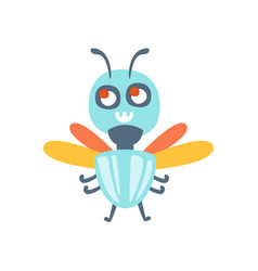 Cute cartoon fly colorful character vector