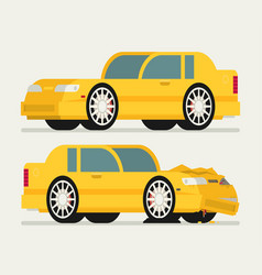 Flat car vehicle before and after car crash road vector