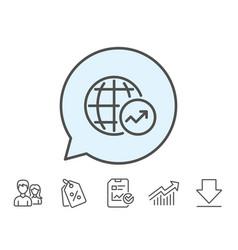 World statistics line icon chart sign vector