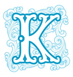 Winter vintage letter k vector