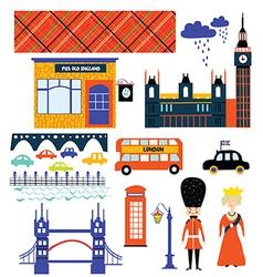 London landmarks and symbol set funny design vector image