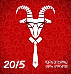 New year red card with goat business greeting card vector