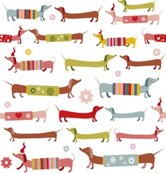Cute winter pattern with dogs vector