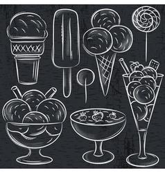 set of different ice cream on blackboard vector image