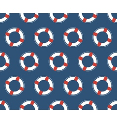 Seamless sea pattern white lifebuoy on blue vector