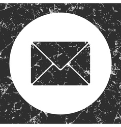 Grunge gray circle icon - envelope vector