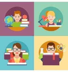 Flat education student pupil kid parent teacher vector
