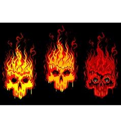 burning skulls vector image