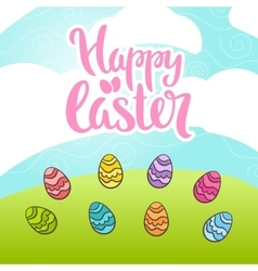 Happy easter phrase lettering vector