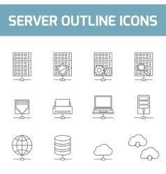 Server outline icons vector