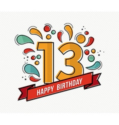 Colorful happy birthday number 13 flat line design vector