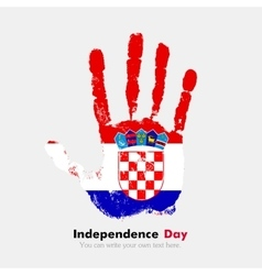 Handprint with the flag of croatia in grunge style vector