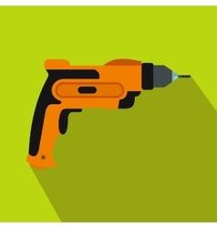 Orange hand drill icon flat style vector