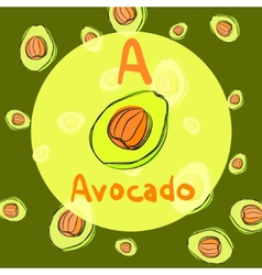 avocado sketch background for recipe vector image