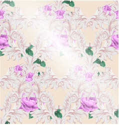 baroque pattern with beautiful roses vector image vector image