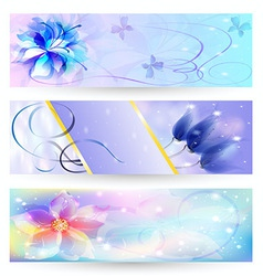beautiful abstract background with flowers banner vector image vector image