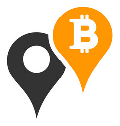 Bitcoin map markers flat icon vector