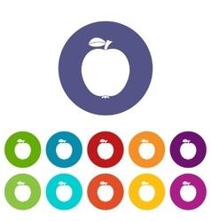 Black apple set icons vector image