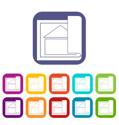 building plan icons set vector image