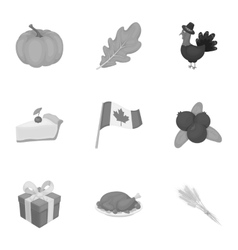 Canadian thanksgiving day set icons in monochrome vector