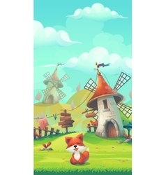 Cartoon little fox in a meadow under the Mill vector image vector image
