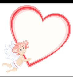 Cute cupid with heart vector