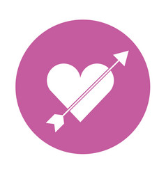 cute heart love with arrow vector image
